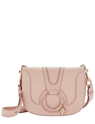 Circle Detail Leather Shoulder Bag