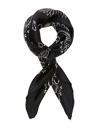 Bandana Print Silk Scarf: Navy
