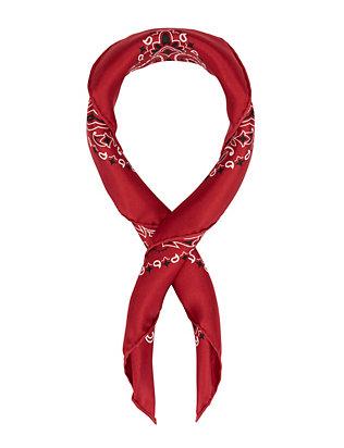 Bandana Print Silk Scarf: Red
