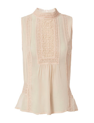 Joie Crochet Detail Sleeveless Blouse