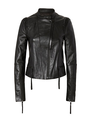 Braided Leather Moto Jacket