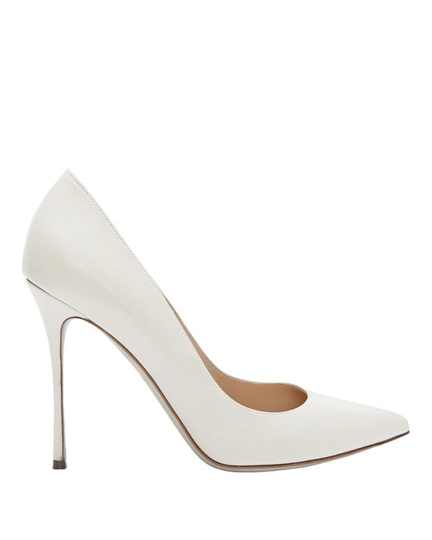 Sergio Rossi Godiva Pointy Toe Leather Pump: White