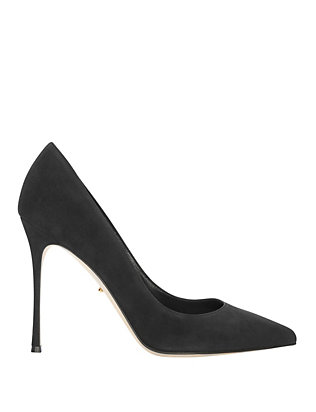 Godiva Black Suede Pointy Toe Pumps