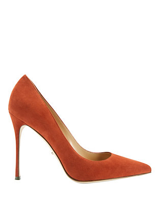 Godiva Terracotta Suede Pointy Toe Pumps