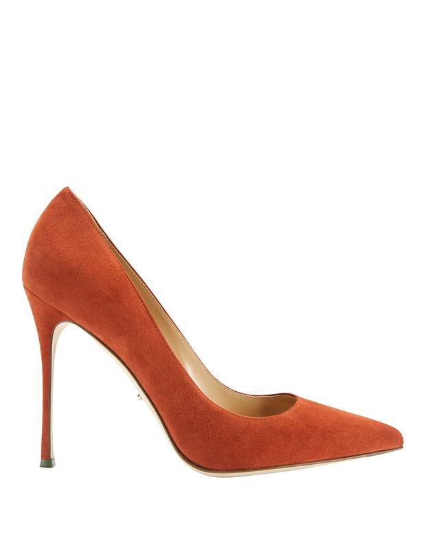Sergio Rossi Godiva Terracotta Suede Pointy Toe Pumps