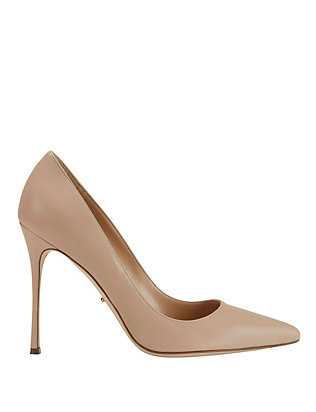 Godiva Nude Leather Pointy Toe Pumps