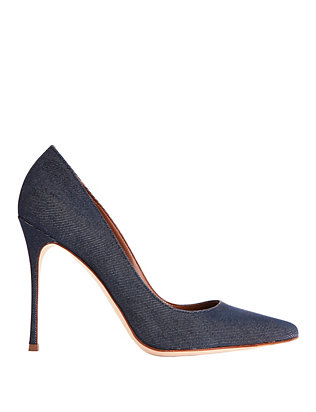 Godiva Dark Denim Pointy Toe Pumps