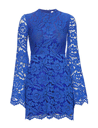 Alexis EXCLUSIVE Bell Sleeve Lace Dress: Cobalt