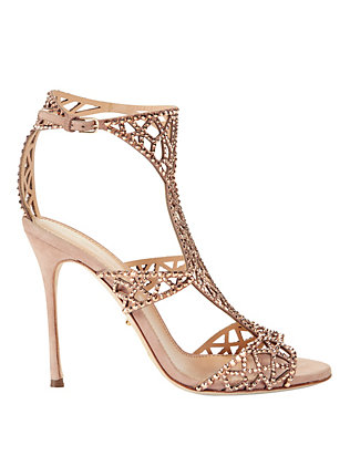 Tresor Crystal Suede Gladiator Sandals