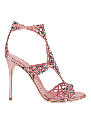 Sergio Rossi Tresor Crystalized Pink Metallic Sandals