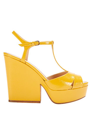 Sergio Rossi T-Strap Pebbled Patent Leather Wedge: Sunshine