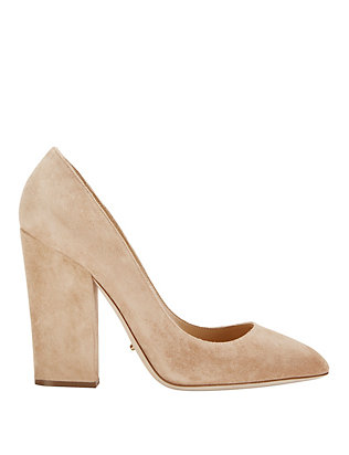 Sergio Rossi Scarlet Thick Heel Suede Pump: Honey