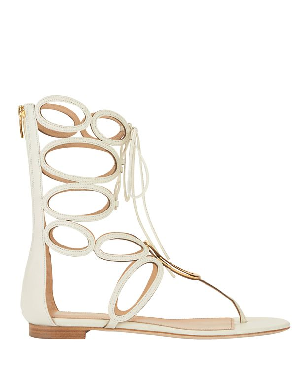 Sergio Rossi Farah Metal Ring Detail Leather Flat Sandal: White