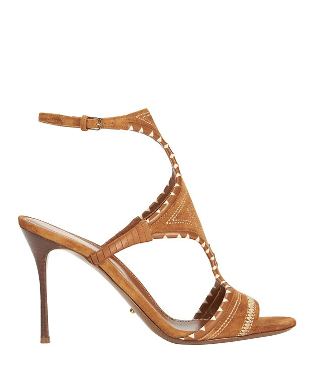 Sergio Rossi Maya Stitched Embroidery Suede Sandal