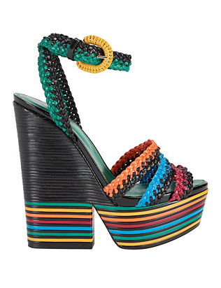 Sergio Rossi Boavista Sculptural Heel Rainbow Rope Wedge
