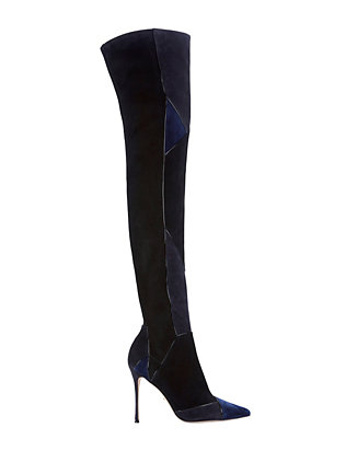 Sergio Rossi Suede Patchwork Thigh High Boot: Navy