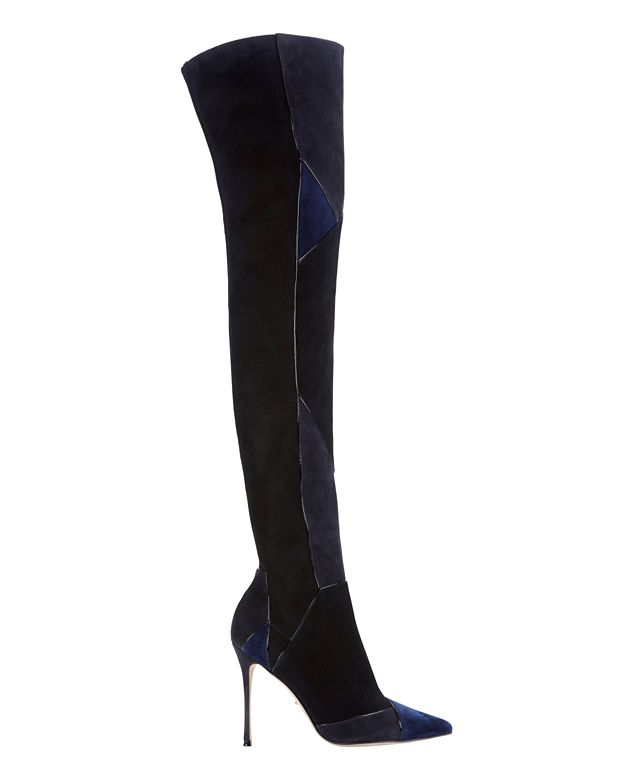 Sergio Rossi Suede Patchwork Thigh High Boots