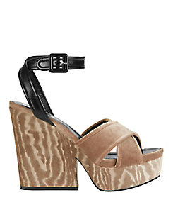Sergio Rossi Hannelore Velvet/Leather Wedge