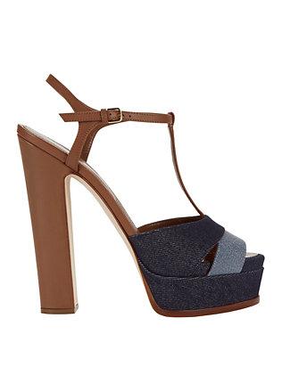 Denim Patchwork T-Strap Platform Sandals