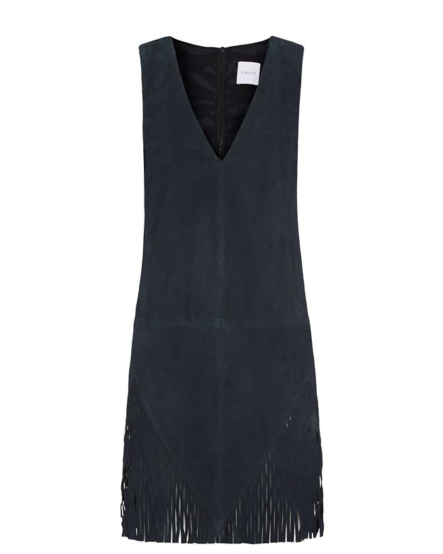Dion Lee Perforated Fringe Suede Shift Dress