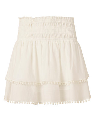 Apiece Apart EXCLUSIVE Pom Edge Mini Skirt: White