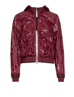 adidas by Stella McCartney Print Hooded Running Jacket: Burgundy