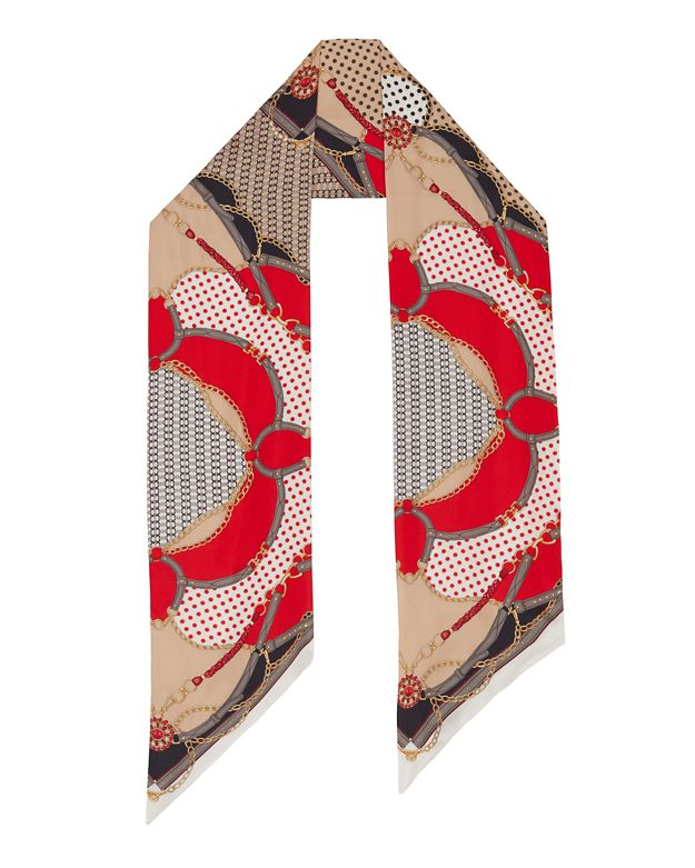 A Pinto Equestrian Print Oblong Scarf