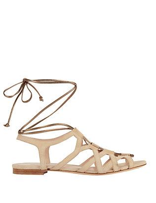 Metallic Tie Suede Gladiator Sandal