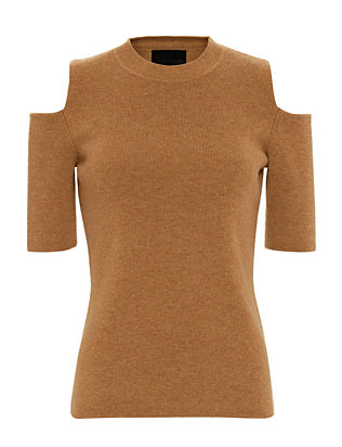 Exclusive for Intermix Cold Shoulder Knit Top: Burnt Orange