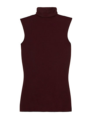 Sleeveless Turtleneck: Burgundy