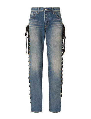 Tu es mon Tresor Lace-Up Side Grommet Detail Jeans
