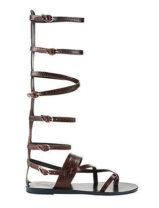 Ancient Greek Sandals Alethea Stamped Croc Knee High Gladiator Sandals