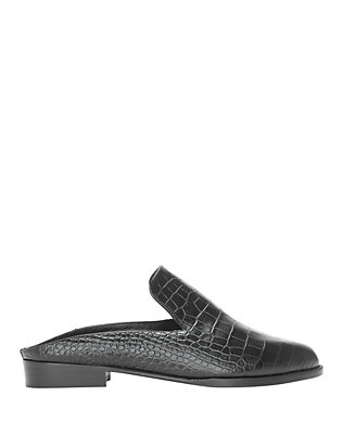 Alice Black Croc Embossed Slide Loafers