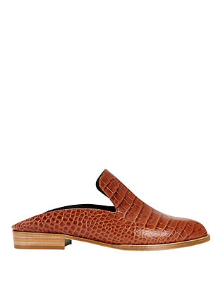 Robert Clergerie Alice Croc Embossed Slide Loafer: Brown