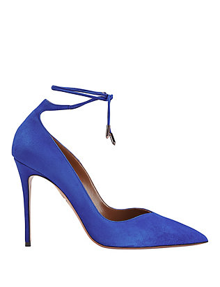 Aquazzura Allure Pointy Toe Ankle Tie Suede Pump: Blue