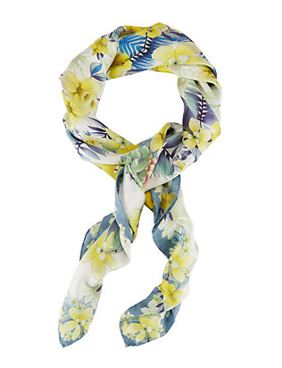 A Pinto Floral Print Silk Square Scarf