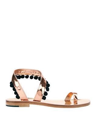 Angela Pom Metallic Flat Sandals