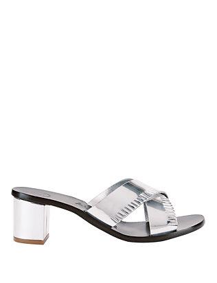 Antonia Metallic Fringe Slide Sandals