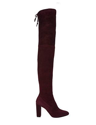 OTK Stack Heel Burgundy Suede Boots