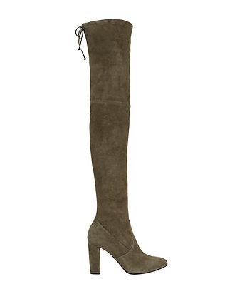 OTK Stack Heel Olive Green Suede Boots