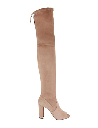 Stretch Suede OTK Open Toe Boots
