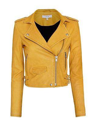IRO Ashville Biker Leather Jacket: Yellow
