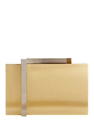 Nathalie Trad Astrid Mixed Metallic Box Clutch