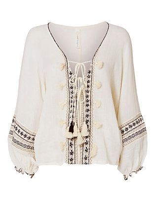 Embroidered Lace-Up Caftan