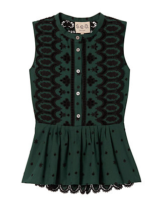Sea Embroidered Cotton Lace Top: Green