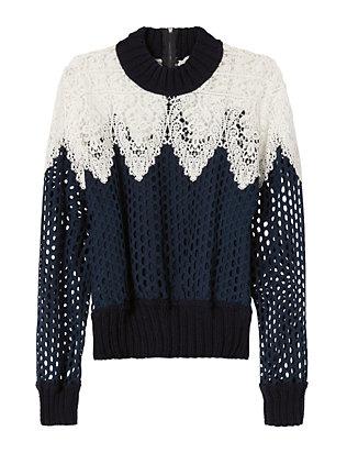 Lace/Mesh Sweatshirt