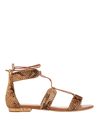 Lace-Up Snake Print Calfhair Flat Sandals
