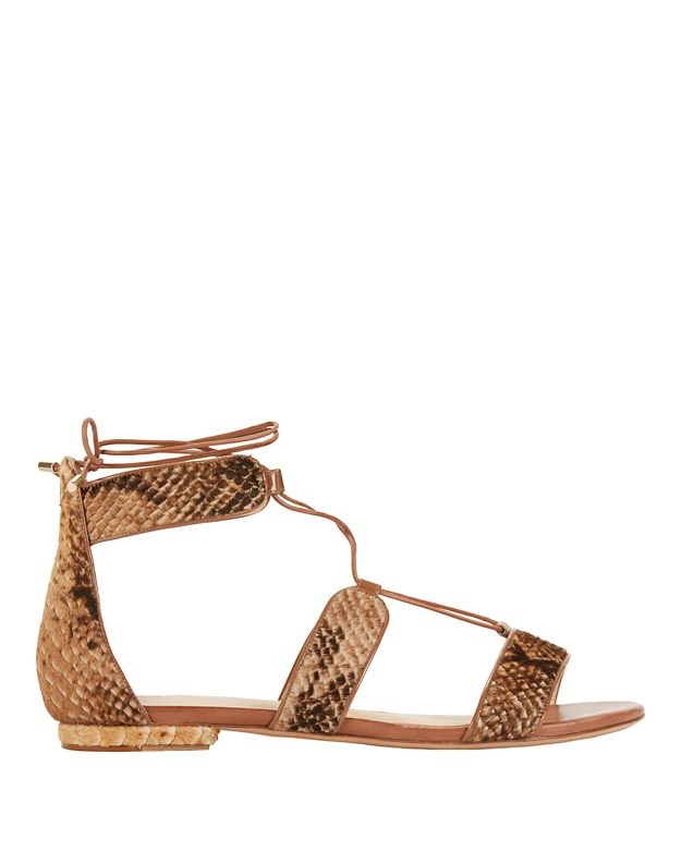 Alexandre Birman Lace-Up Snake Print Calfhair Flat Sandals