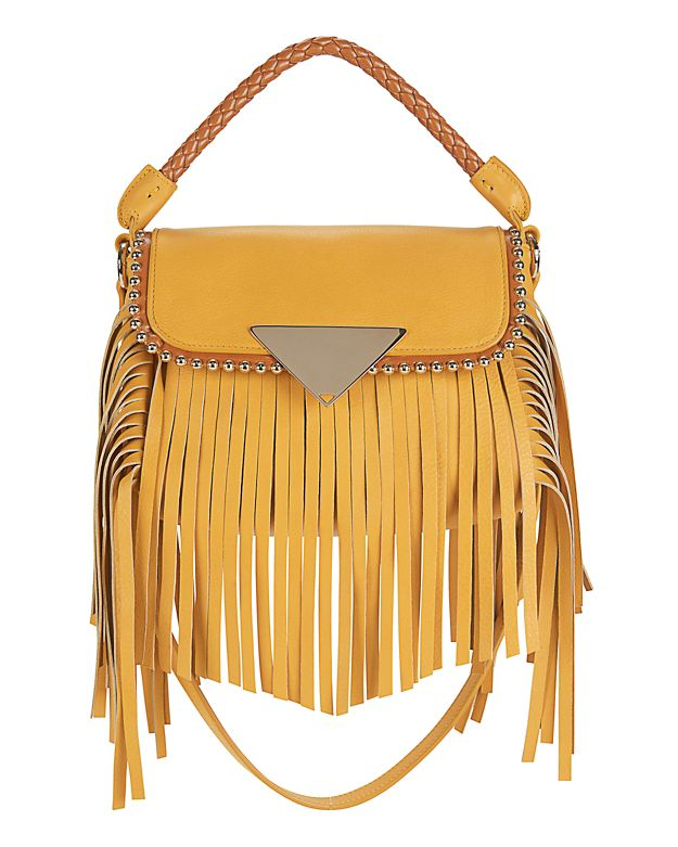 Sara Battaglia Amber Mini Fringe Crossbody: Yellow