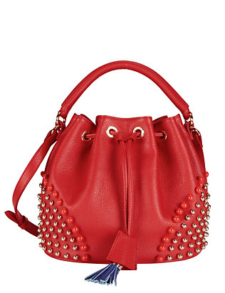 Sara Battaglia Patty Studded Leather Bucket Bag: Red